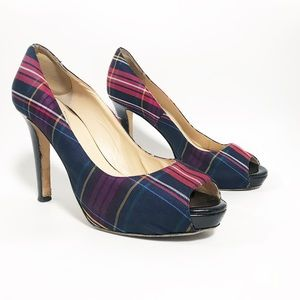 Kate spade. Plaid pumps with patent leather heels
